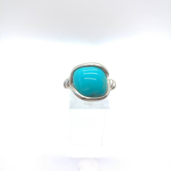 Simple Turquoise Ring | Sterling Silver Ring Sz 9 | Sleeping Beauty Turquoise | Simple Blue Stone Ring | Gift for Mom | December Birthstone