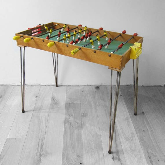 Table Football Mid Century Vintage Game Atomic 1960s Retro Red Yellow