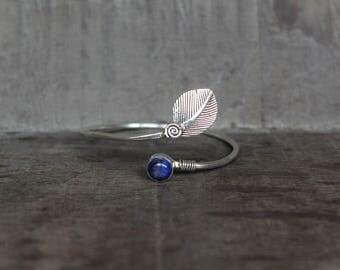 Lapis Lazuli Leaf Bracelet - 925 Silver