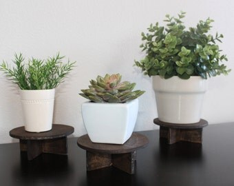 Set of 3 Plant Stands Holders - Small Potted Desktop Shelf Decor Wood Wooden Dark Stained Round Circle Handmade Nursery Living Room Boho