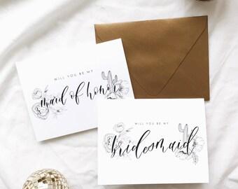 Calligraphy Bridesmaid Card | Bridesmaid Proposal|Will You Be My Bridesmaid? | Boho Wedding | Boho Bridesmaids | Bridesmaid Ask| Boho Bride