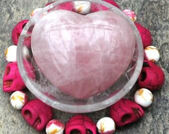 Day of the Dead Pink Skull Bracelet; Dia De Los Muertos Jewelry; Fuschia Halloween Bracelet