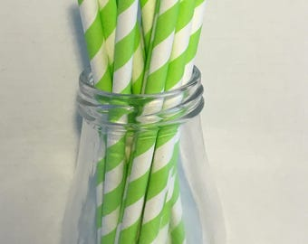 Lime Green Stripe Paper Straws, Mason Jar Straws, Party Decor, Straws