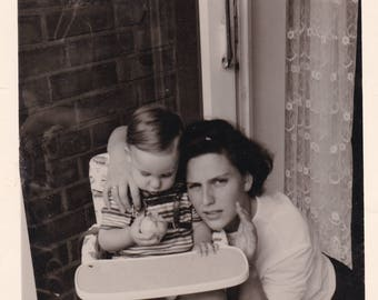 Mother And Baby - Cute Boy Eating Apple - Vintage Photo