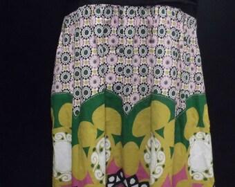 Vintage SanDrea Empire Style 100% Cotton Fully Lined Multi-colored  Boho Hippie Dress