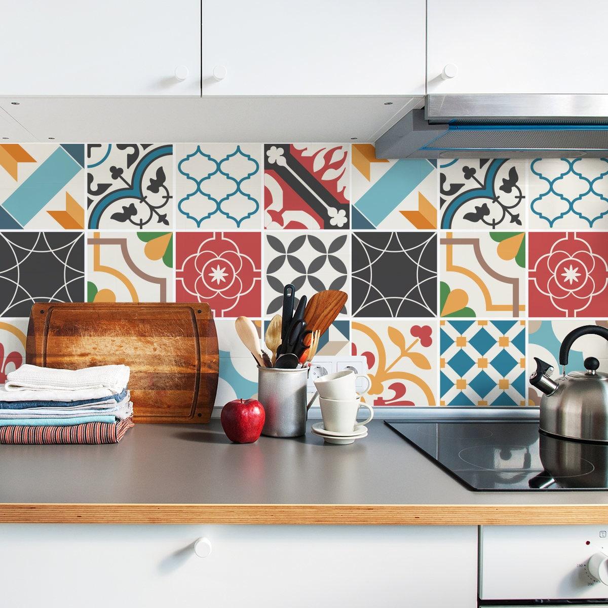 Talavera tile decals tile stickers set talavera spanish mediterranean tile decals tile stickers set traditional tiles kit tiles for kitchen dailygadgetfo Images