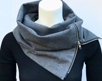 Zipper up modern flannel scarf unisex