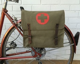 25% OFF Vintage Olive Drab Green Military Surplus Style Messenger Bag Bicycle Pannier with Medic Logo