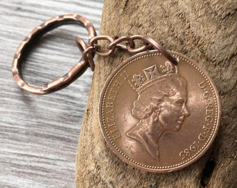 32nd or 33rd birthday gift, 1985 or 1986 British coin keychain, English anniversary, present man, gift for him