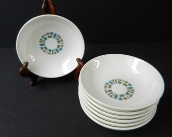 "Set of 7 Mid Century Temporama Fruit or Dessert Bowls, Canonsburg Pottery, Small 5 1/2"" Bowls, Retro Atomic Dinnerware"