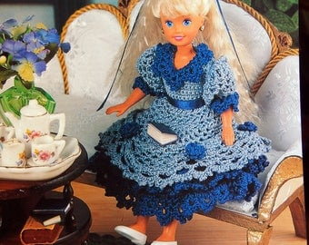 Teatime Party Dress By Juanita Turner And Annie's Fashion Doll Crochet Club Vintage Crochet Pattern Pattern Leaflet 1995