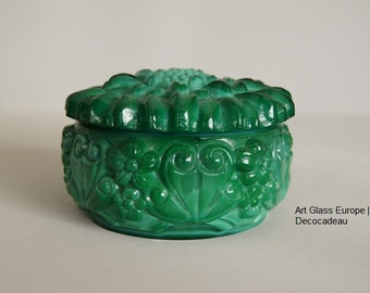 Malachite Glass lid box in a deep-green color with a floral decor after design by Curt Schlevogt.