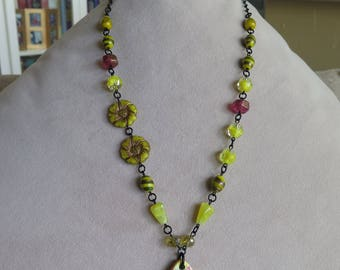bright lemon yellow floral necklace, long artisan ceramic and vintage glass necklace, yellow and red necklace, yellow summer jewelry, gift