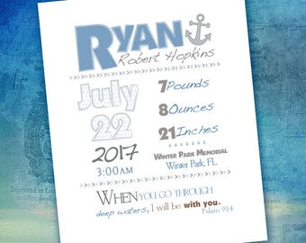 Baby Birth Stats, Announcement, Sign, Poster - 8x10 Custom Digital Art - Nautical Anchor [DIGITAL FILE]