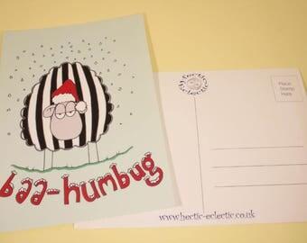 Baa Humbug sheepy Christmas postcard - original illustration, Christmas card, greetings card