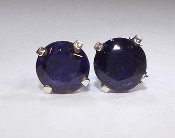 Iolite Earrings|Iolite Studs|Iolite Stud Earrings|Sterling Silver Iolite Earrings|Natural 6mm Iolite Stud Earrings|September Birthstone