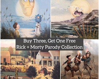 Rick and Morty Parody Print Collection - Print Poster Canvas - Repurposed Thrift Art - Screaming Sun Bird Person Funny Fan Gift Set Pack