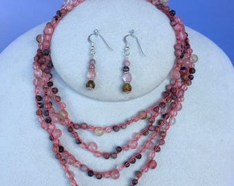 Rhodochrosite and Strawberry Quartz Gemstone Long Necklace, Hand Crochet on Pure Silk Thread w/ Matching Earrings & Sterling Silver