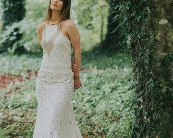 Bohemian Wedding Dress, Natural Wedding Dress, Celtic Wedding Dress, Woodland Dress, Custom made, Pagan, Simple Wedding