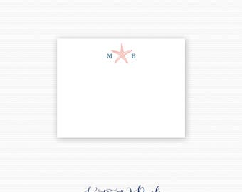 Starfish Thank You Note Cards, Destination Wedding Thank You Note Cards, Personalized Stationery - Set of 25 Cards