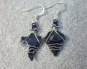 Wire Wrapped Ancient Native American Indian Obsidian Arrowhead Earrings ~ Authentic Stone Age Artifacts From Oregon