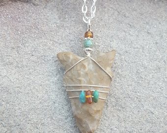 Silver Wire Wrapped Ancient Native American Indian Arrowhead Pendant With Amber and Turquoise ~ An Authentic Stone Age Artifact