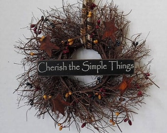 "Primitive Wreath, Angel Vine, Cherish the Simple Things, 8"" Wreath, Primitive Sign, Stars, Pip Berries, Homespun, Handmade, Made in the USA"