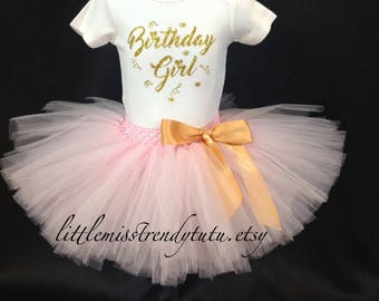 Pink First Birthday Outfit, First Birthday Tutu Set, Pink 1st Birthday Tutu, Pink Birthday Shirt Tutu Set, Girls Birthday Outfit, Tutu