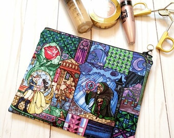 The Beauty & The Beast Medium Zipper Pouch /  Stained Glass Cotton