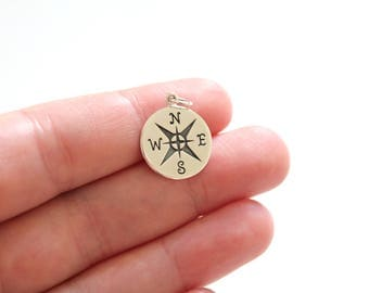 Sterling Silver Compass Charm, Follow Your Compass Pendant, Traveler Charm, Explorer Charm Compass Pendant, Compass Pendant, Compass Charm