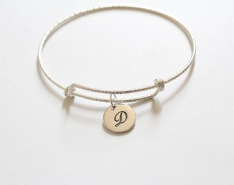 Sterling Silver Bracelet with Sterling Silver Cursive D Letter Charm, Bracelet with Silver Letter D Pendant, Initial D Charm Bracelet, D