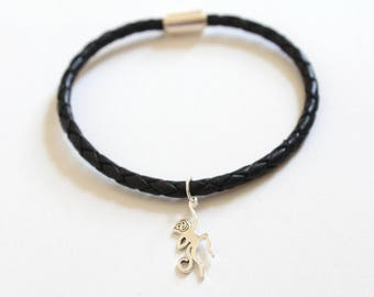 Leather Bracelet with Sterling Silver Monkey Charm, Monkey Bracelet, Monkey Charm Bracelet, Monkey Pendant Bracelet, Silver Monkey Bracelet