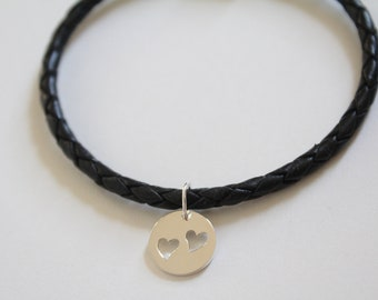 Leather Bracelet with Sterling Silver Disk with Two Heart Cutouts Charm, Heart Disk Charm Bracelet, Heart Bracelet, Circle with Hearts