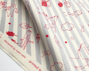 Japanese Fabric. Printed by Lecien. Forest school. Cat fabric. Grey and red. Made in Japan. Grey stripped.