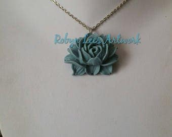 Large Resin Blue Rose Necklace on Silver, Gold or Bronze Crossed Chain or Black Faux Suede Cord