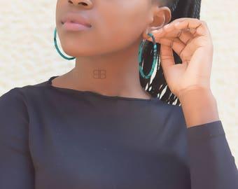 African fabric hoop earrings, ankara hoop earrings,