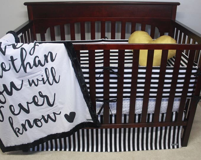 Modern Black and White Stripe Baby Bedding with Bumpers