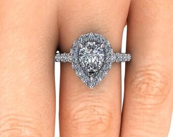 Pear Shape Diamond Engagement Ring, 2.10 Carat Forever One Moissaniate, Platinum and Ethical Diamonds, Diamond Alternative