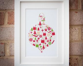 Christmas Gift - Traditional Colours - Giclée Art Print