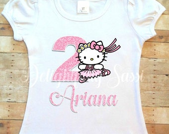 Hello Kitty Birthday Shirt, Personalized Hello Kitty Shirt, Hello Kitty Ballerina, Ballerina Shirt, Personalized Ballerina Shirt