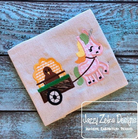 Unicorn pulling cart with Turkey appliqué embroidery design - Thanksgiving appliqué design - Unicorn appliqué design - Turkey appliqué