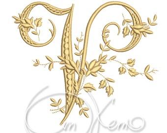 MACHINE EMBROIDERY DESIGN - Victorian Letter V embroidery, Victorian alphabet embroidery, Antique alphabet embroidery, Monogram embroidery