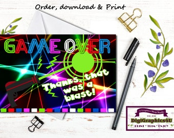 Laser Tag Thank You Cards for Birthdays, Parties and More Printable File