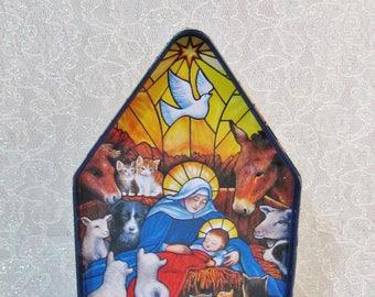 Tin Nativity Scene, Christmas Tin