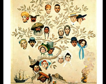 Genealogy Art Print, Family Tree, 1950s Art, Norman Rockwell Book Page Illustration, Collectible Art