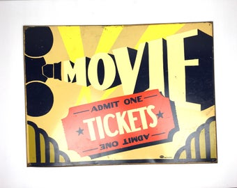 Vintage Movie Tickets Sign Vintage Style Metal Movie Theater Sign Metal Movie Tickets Sign Home Theatre Metal Sign
