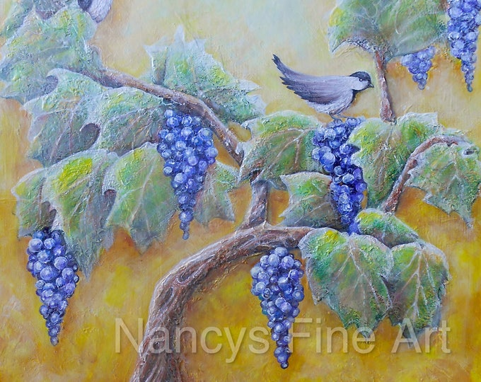 birds on grape vine art, Chickadee rustic bird artwork, winery painting print, Original Bird painting by Nancy Quiaoit