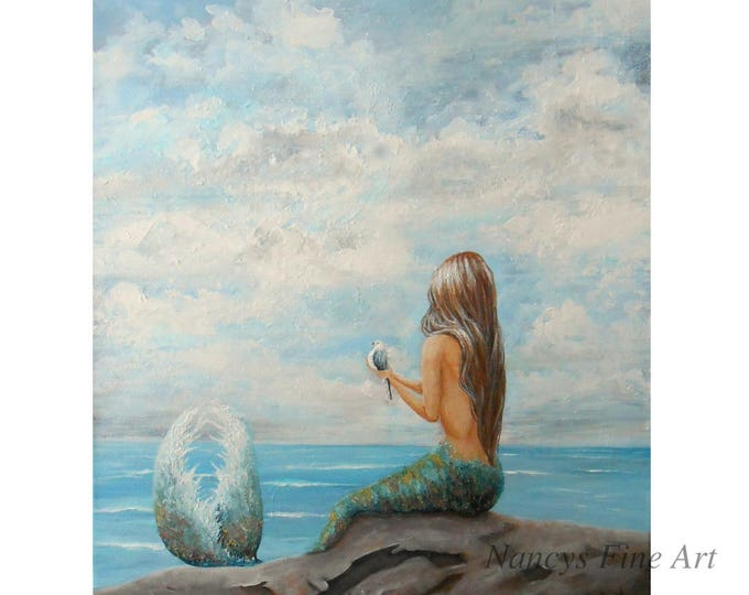 Little mermaid painting by California artist, Nancy Quiaoit available on fine art paper and stretched canvas.