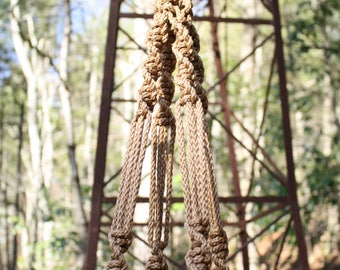 Cinnamon Macrame Plant Hanger with Green and White Swirl Marbella Beads