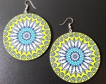 Tribal Print Lime Green Blue Earrings | Wood Earrings | Dangle Drop Earrings | Wood Jewelry